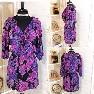 Rebecca Taylor | 100% Silk Floral Dress in Purple